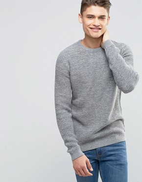 Selected Homme - Leichter Strickpullover in Korbflechtoptik - Grau