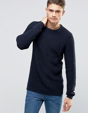 Selected Homme - Leichter Strickpullover in Korbflechtoptik - Marineblau