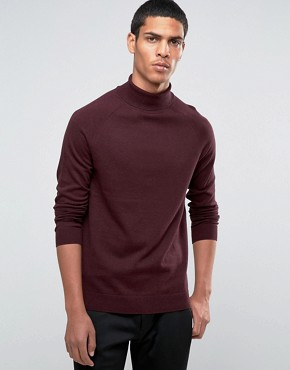 Selected Homme - silk blend turtle neck sweater - red