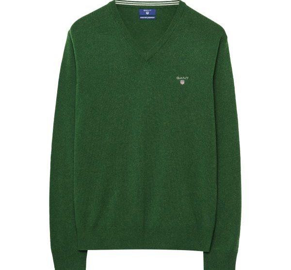 GANT Lambswool-Pullover mit V-Ausschnitt - Grün