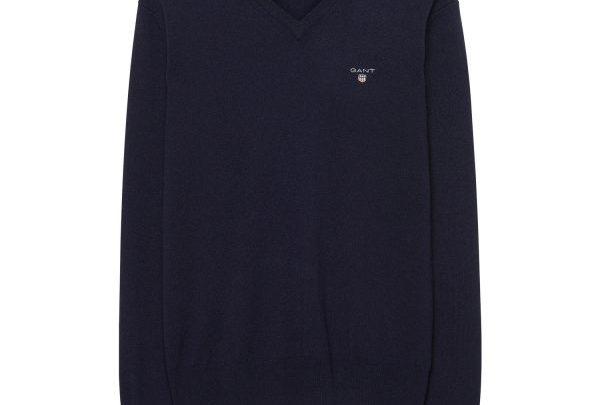 GANT Lambswool-Pullover mit V-Ausschnitt - Blau