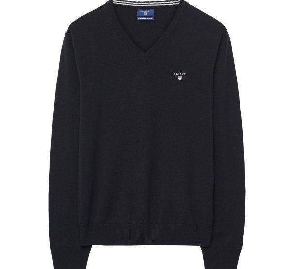 GANT Lambswool-Pullover mit V-Ausschnitt - Schwarz