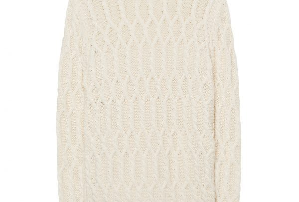 GANT Fishermans plait patterned round neck sweater - white