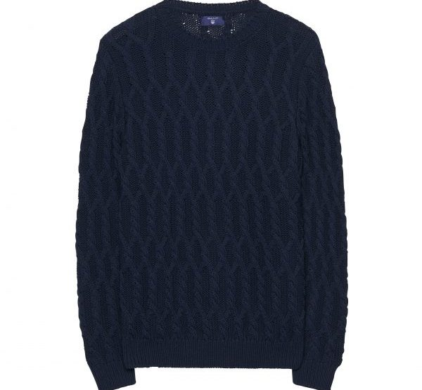 GANT Fishermans plait patterned round neck sweater - blue