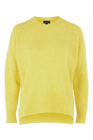 Ripped Ajour-sweater with v-neck - yellow