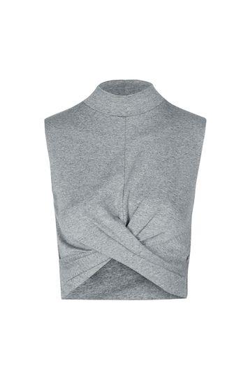 TALL High Neck Twist Crop Top - Grau Meliert