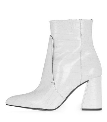 HAWK Croko-look bootie - white