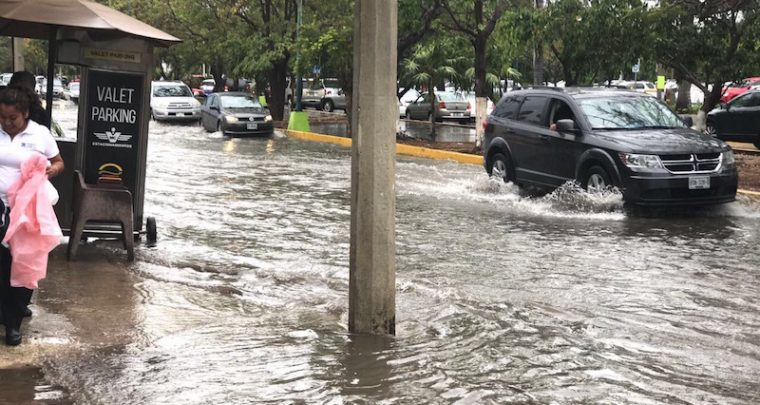 Cancun Mexico - heavy rains flooding the city