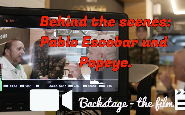 Pablo Escobar and Popeye behind the scenes! // Backstage the film!