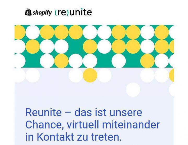 Invitu à Reunite! - U primu live stream di Shopify per i pruprietari di l'imprese!